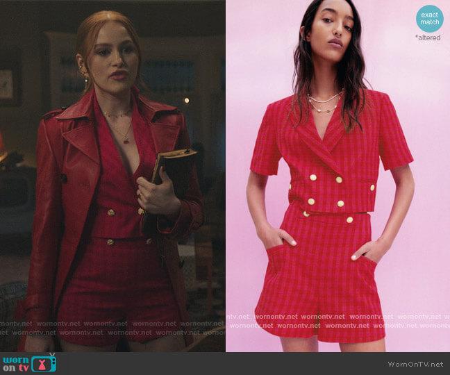 Gingham Check Blazer and Shorts by Zara worn by Cheryl Blossom (Madelaine Petsch) on Riverdale