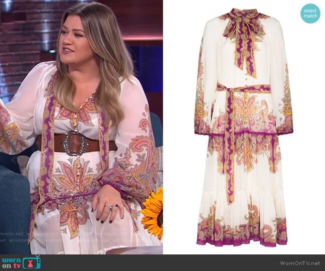 Teddy paisley-print cotton-blend midi dress by Zimmermann worn by Kelly Clarkson  on The Kelly Clarkson Show