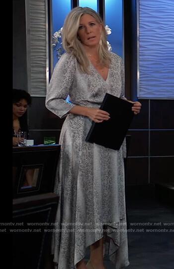 Carly's gray snake skin print wrap dress on General Hospital