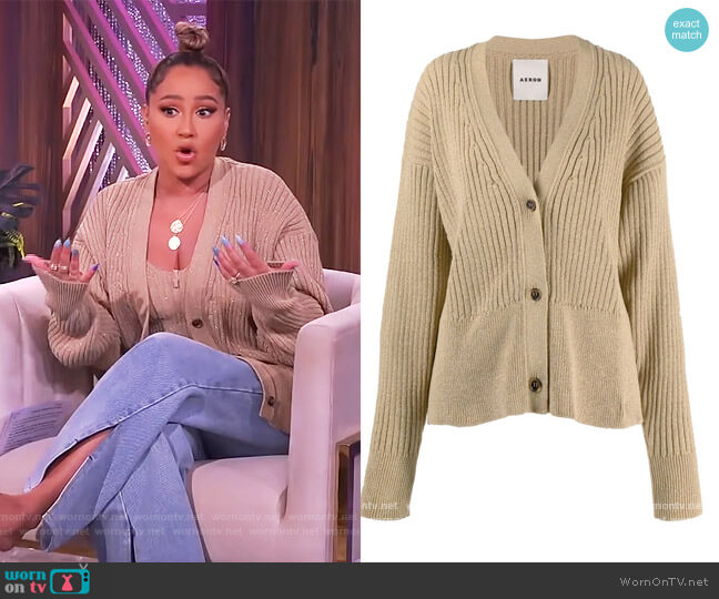 Chakra Ribbed Knit Cardigan by Aeron worn by Adrienne Houghton  on The Real