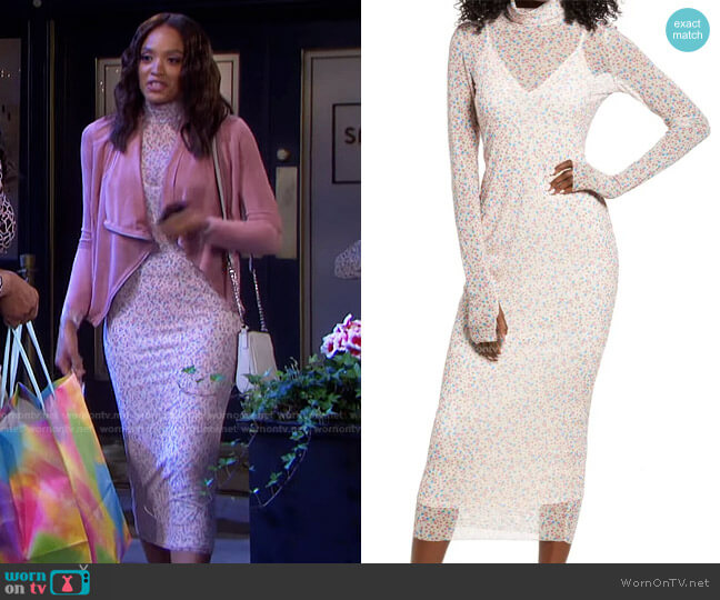 Shailene Sheer Long Sleeve Dress by AFRM worn by Lani Price (Sal Stowers) on Days of our Lives