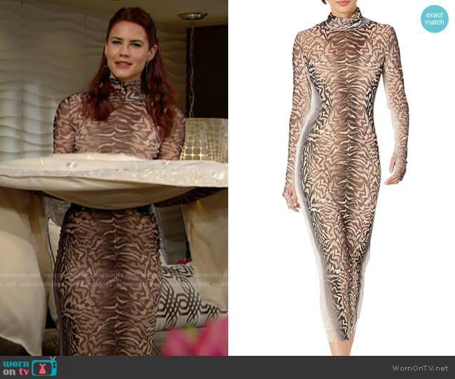 AFRM Shailene Dress in Placement Ombre Animal worn by Sally Spectra (Courtney Hope) on The Young & the Restless