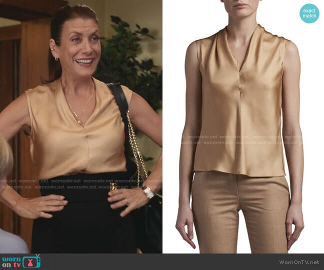 Eternal Silk Twill Sleeveless Shell by Agnona worn by Kate Walsh on Greys Anatomy