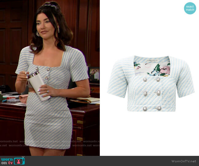 Alessandra Rich Pearl-button striped tweed cropped top worn by Steffy Forrester (Jacqueline MacInnes Wood) on The Bold & the Beautiful