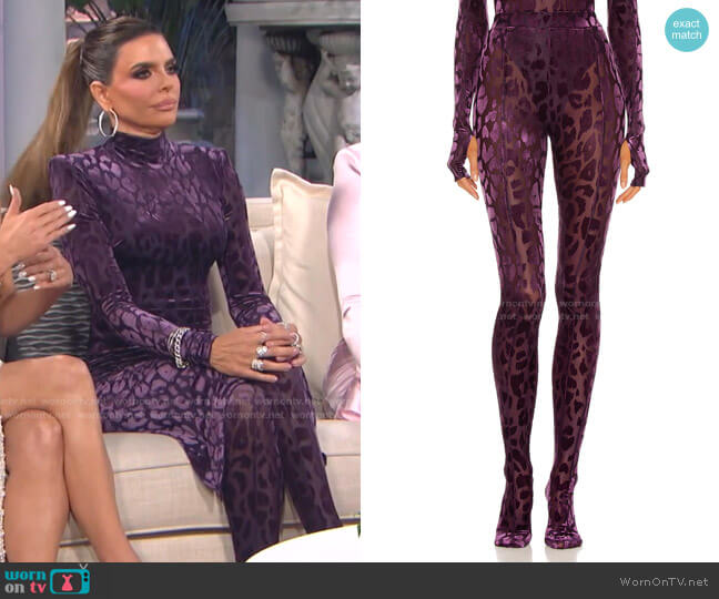 Beck Leopard Pants by by Alex Perry worn by Lisa Rinna  on The Real Housewives of Beverly Hills