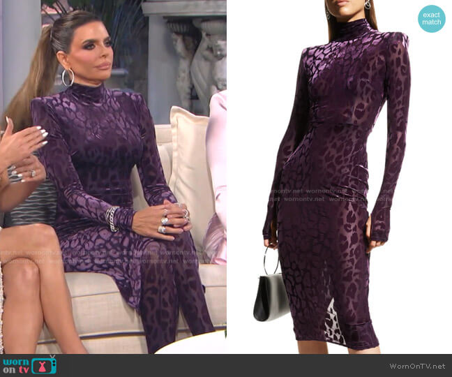 Cullen Cheetah-Print Velvet Midi Dress by Alex Perry worn by Lisa Rinna  on The Real Housewives of Beverly Hills