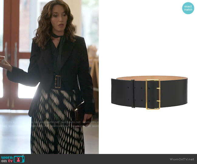 Alexander McQueen 85mm High Waist Leather Belt worn by Bette Porter (Jennifer Beals) on The L Word Generation Q