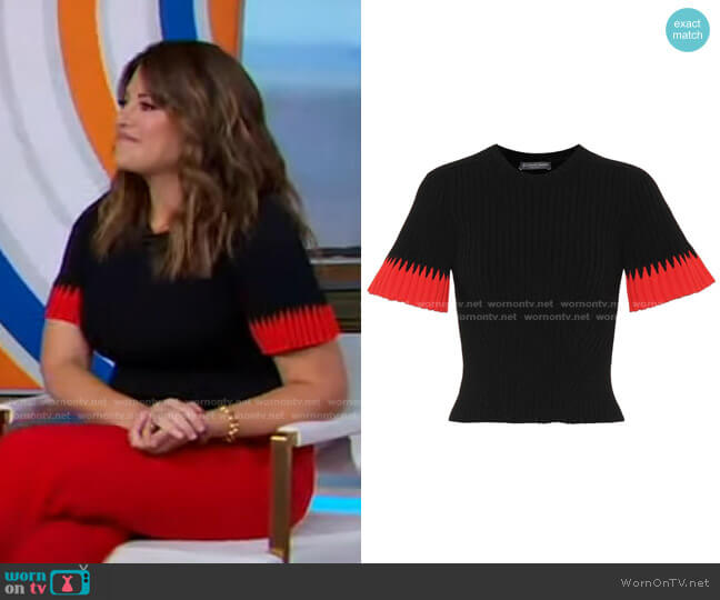 Ribbed Wool and Sashmere-Blend sweater by Alexander McQueen worn by Monica Lewinsky on GMA