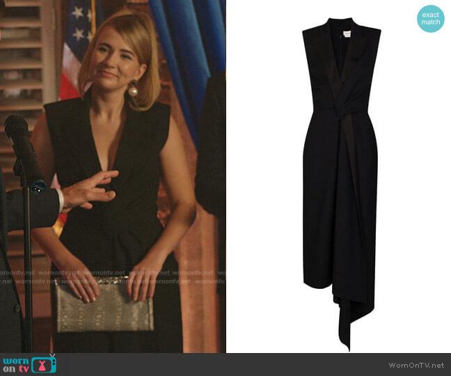 Tailored Asymmetric Gown by Alexander McQueen worn by Amanda Carrington (Eliza Bennett) on Dynasty