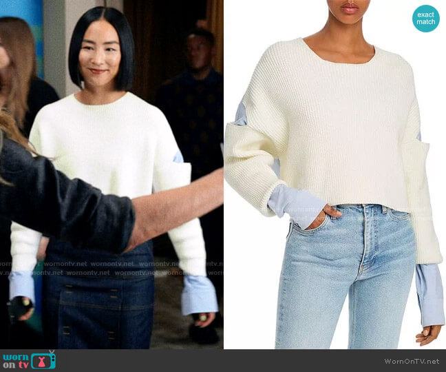 T by Alexander Wang Layered-Look Cutout Combo Top worn by Stella Bak (Greta Lee) on The Morning Show