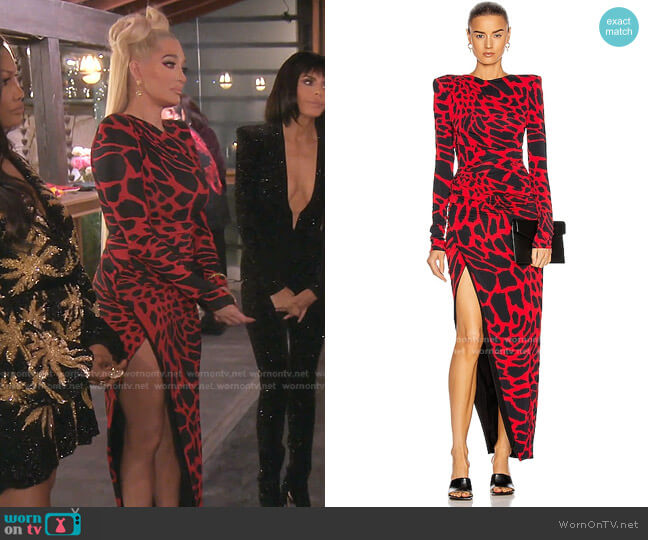 Giraffe Ruched Maxi Dress by Alexandre Vauthie worn by Erika Jayne  on The Real Housewives of Beverly Hills
