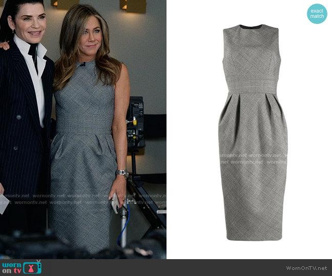 Alexandre Vauthier Glen check sheath dress worn by Alex Levy (Jennifer Aniston) on The Morning Show