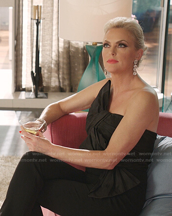 Alexis's black bow detail strapless jumpsuit on Dynasty