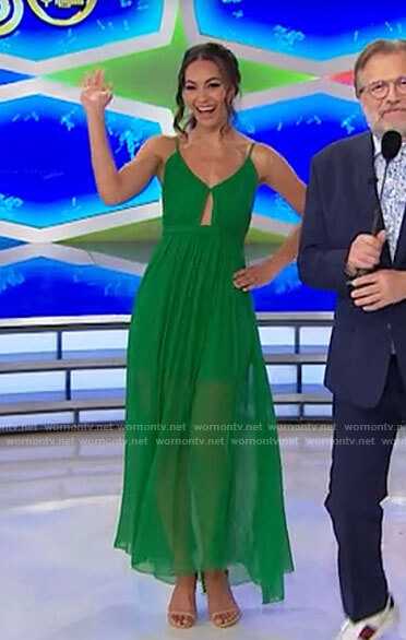Alexis's green maxi dress with cutout on The Price is Right