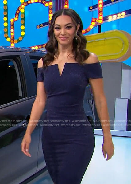 Alexis's navy notched off-shoulder dress on The Price is Right
