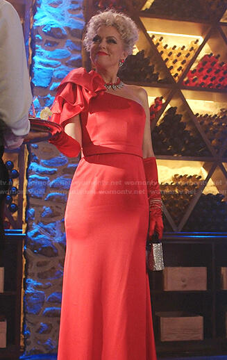 Alexis's red ruffle one-shoulder dress on Dynasty