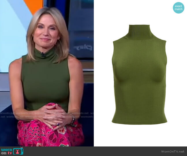 Darina Mockneck Shell by Alice + Olivia worn by Amy Robach  on Good Morning America