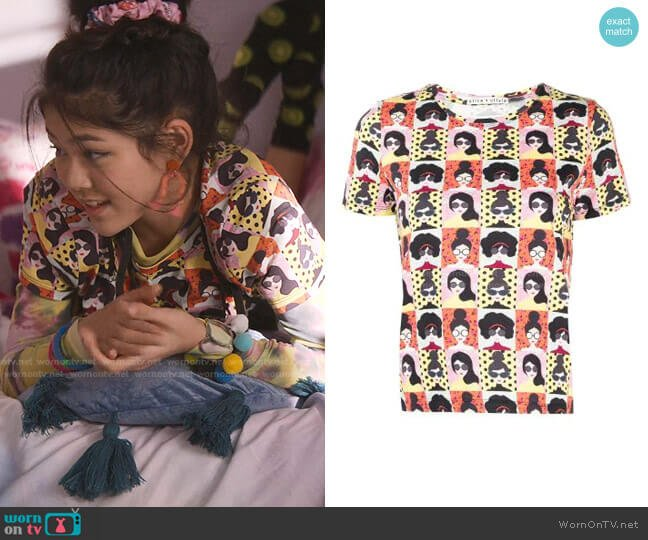 Stace Face-Print Cotton T-Shirt by Alice + Olivia worn by Claudia Kishi (Momona Tamada) on The Baby-Sitters Club