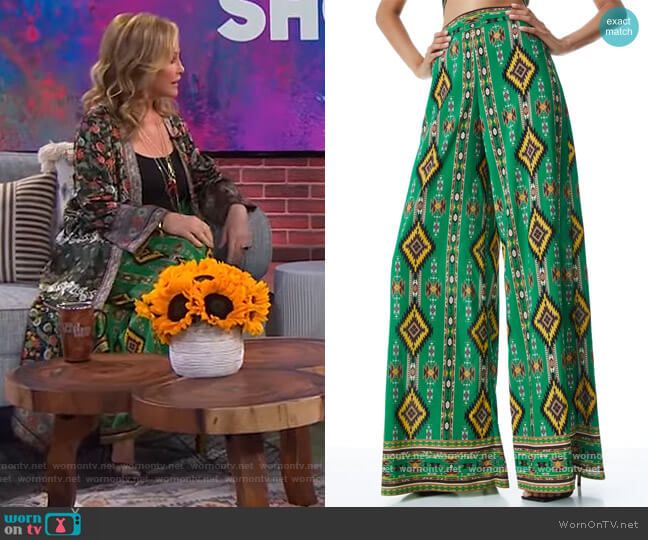 Athena Wide Leg Pants by Alice + Olivia worn by Kathy Hilton on The Kelly Clarkson Show