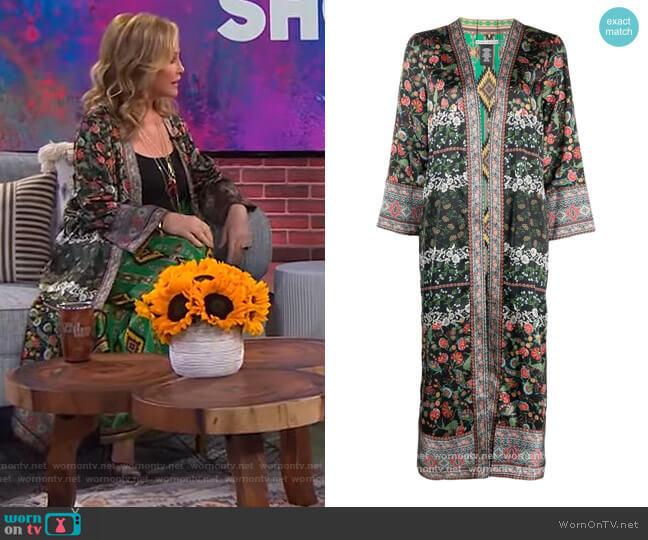 Floral-print Kimono Coat by Alice + Olivia worn by Kathy Hilton on The Kelly Clarkson Show