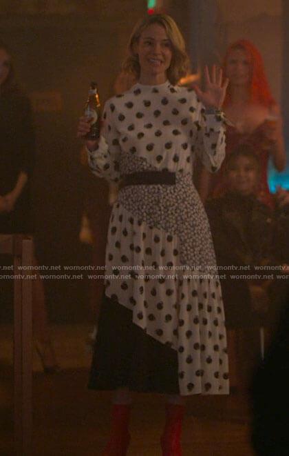 Dani's metallic beige cardigan and top set on The L Word Generation Q