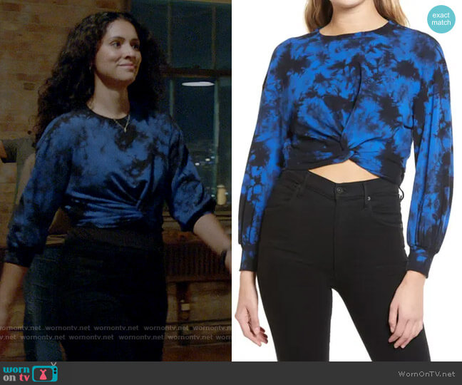 Alice + Olivia Marcelle Twist Front Pullover worn by Stella Kidd (Miranda Rae Mayo) on Chicago Fire