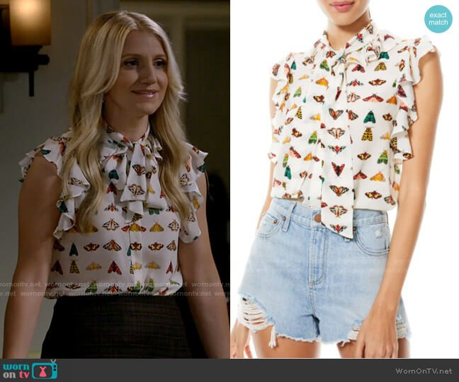 Alice + Olivia Robbie Butterfly Print Silk Bow Blouse worn by Gina Dabrowski (Annaleigh Ashford) on B Positive