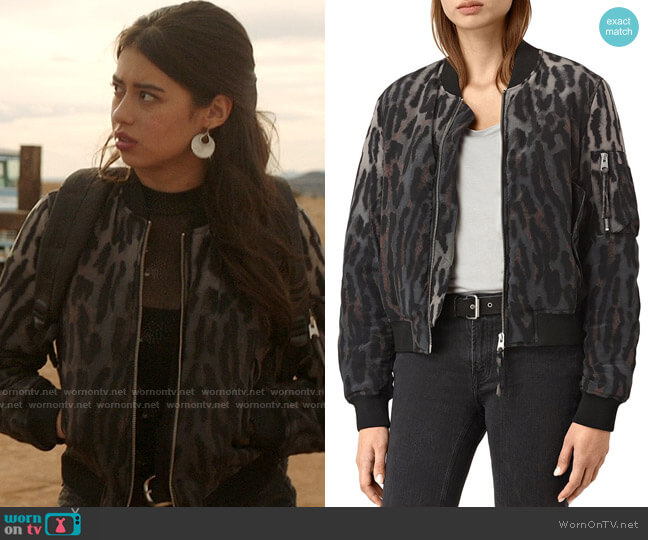 All Saints Sinai Leopard Print Silk Bomber Jacket worn by Rosa Ortecho (Amber Midthunder) on Roswell New Mexico