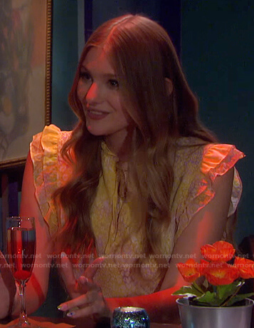 Allie's yellow animal print ruffle dress on Days of our Lives
