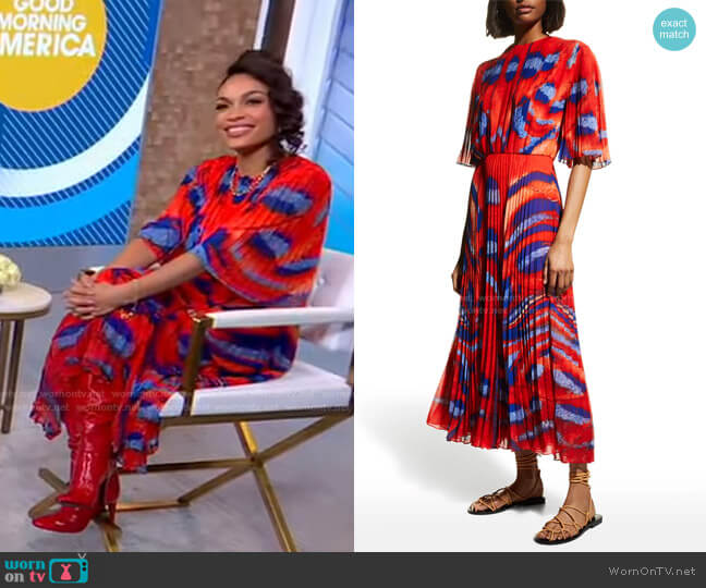 Pleated Georgette Dress with Front Slit by Altuzarra worn by Rosario Dawson on GMA