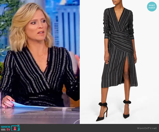 Sade metallic-striped silk-blend crepe wrap dress by Altuzarra worn by Sara Haines  on The View