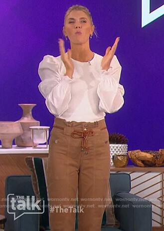 Amanda's white puff sleeve top and pants on The Talk