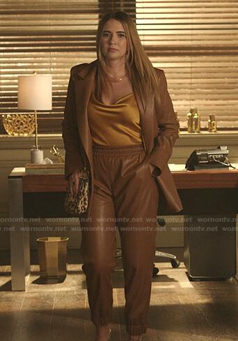Amanda's camel leather blazer and pants on Dynasty