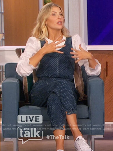 Amanda's white puff sleeve blouse and denim jumpsuit on The Talk