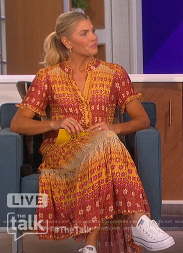 Amanda's orange floral print maxi dress on The Talk