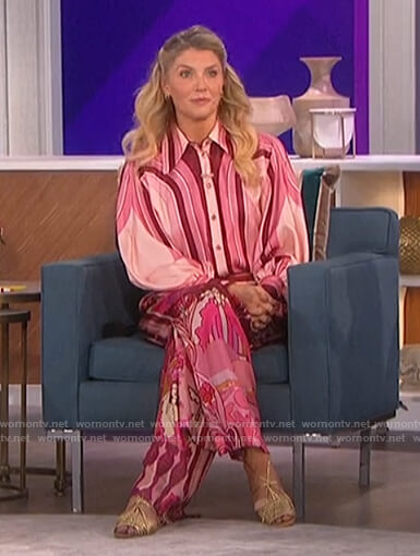 Amanda's pink printed blouse and pants on The Talk