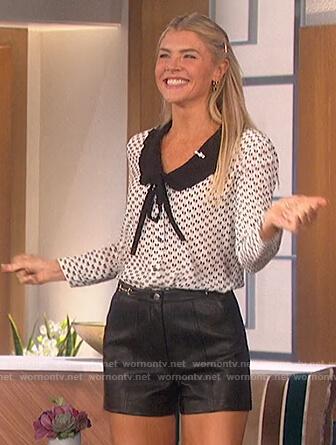 Amanda's printed blouse and shorts on The Talk