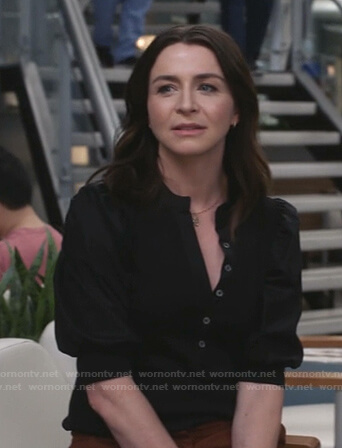 Amelia's black puff sleeve top on Greys Anatomy