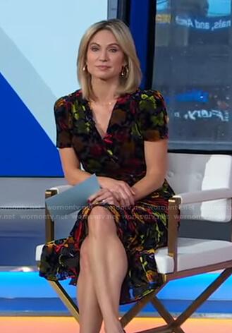 Amy's black floral velvet dress on Good Morning America