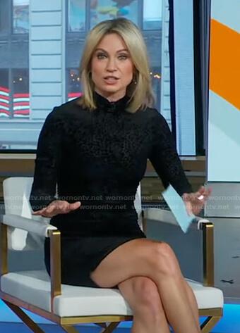 Amy's black leopard mini dress on Good Morning America