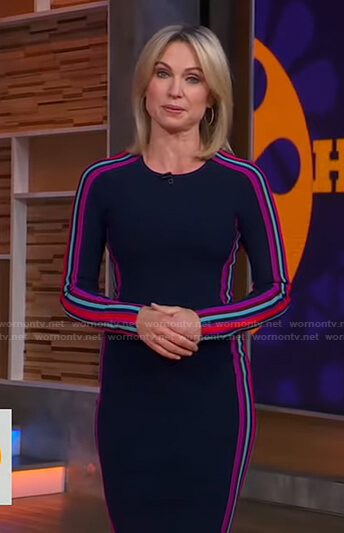 Amy's navy dress with side stripes on Good Morning America