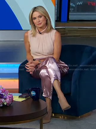 Amy's pink sleeveless top and satin cropped pants on Good Morning America