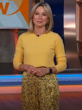 Amy's yellow sweater and snake print pants on Good Morning America