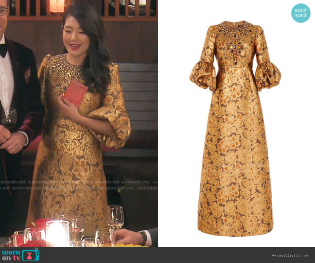 Crystal-Embellished Floral Brocade Gown by Andrew Gn worn by Crystal Kung Minkoff  on The Real Housewives of Beverly Hills