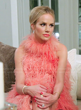 Angie's pink feather sleeveless dress on The Real Housewives of Salt Lake City