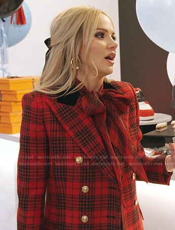 Angie's red plaid blazer and leggings on The Real Housewives of Salt Lake City