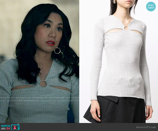 Anna Quan Laila cut-out knitted top worn by Melody Bayani (Liza Lapira) on The Equalizer