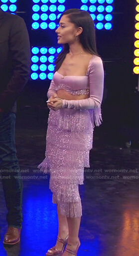 Ariana's lilac cropped top and fringed skirt on The Voice