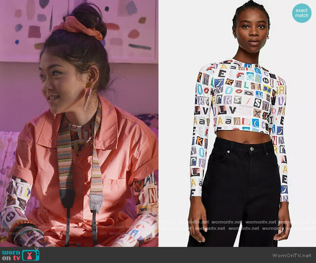 Alphabet Print Top by Topshop worn by Claudia Kishi (Momona Tamada) on The Baby-Sitters Club