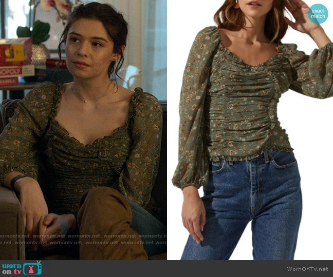 ASTR Floral Ruffle Top worn by Nia Nal (Nicole Maines) on Supergirl